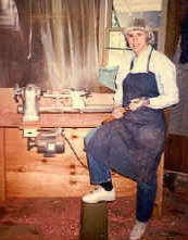 Patricia Walter doing woodturning in the Cedar Egg Factory