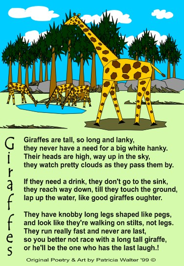 Giraffes are tall, sl long and linky, they never have a need for a big white hanky.